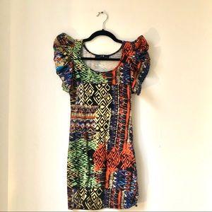 Forever 21 pointy shoulder mini tribal print dress